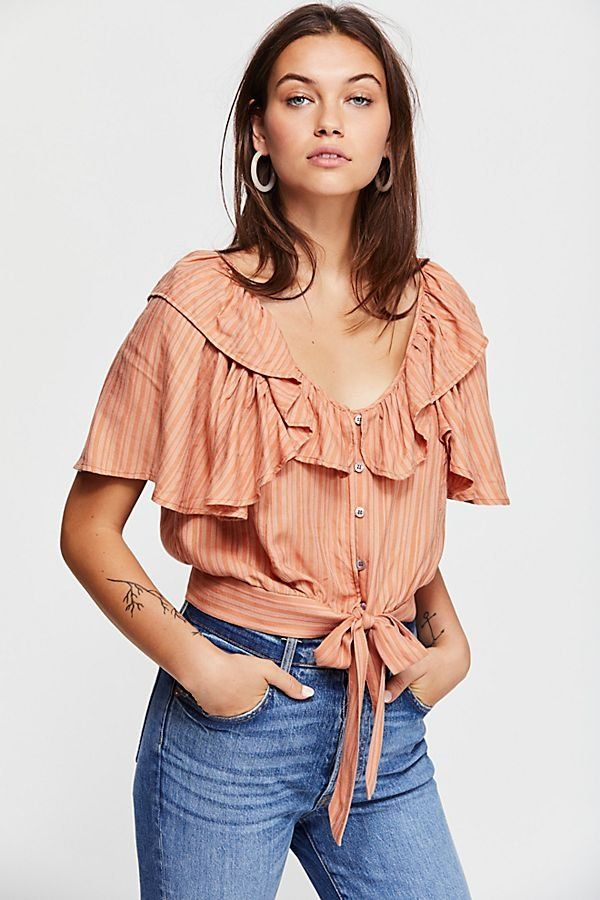 7aa2debca83 The Rosemary Top - Peach Ruffled Top Tie Front Top - Peach Tie Front Short  Sleeve Top - Peach Short Sleeve Tops - Tie Front Tops - Boho Tops