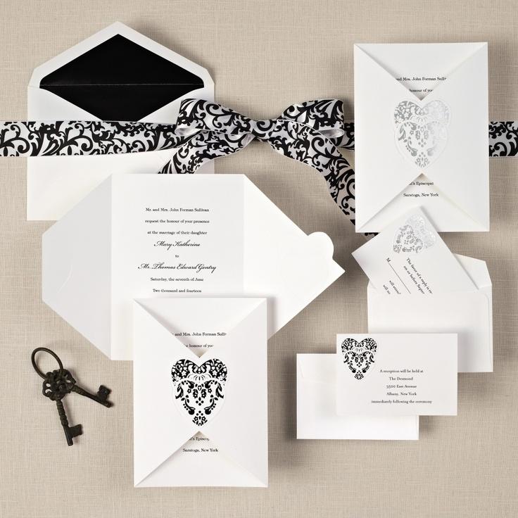 Romantic Damask Wedding Invitation   #exclusivelyweddings   #blackandwhitewedding
