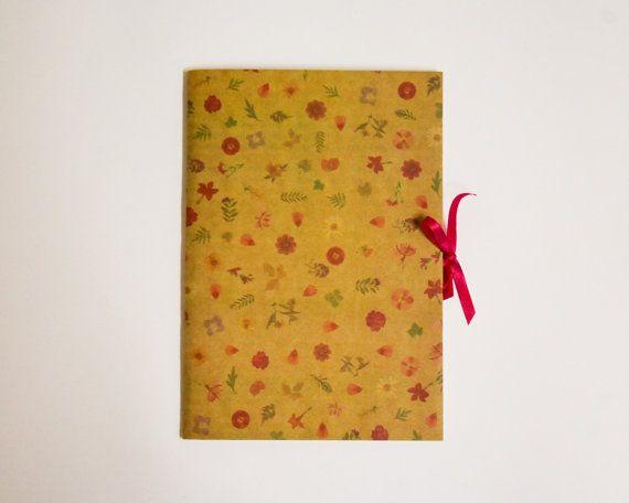 floral pattern handmade notebook with ribbon  kraft by tiffokeeffo