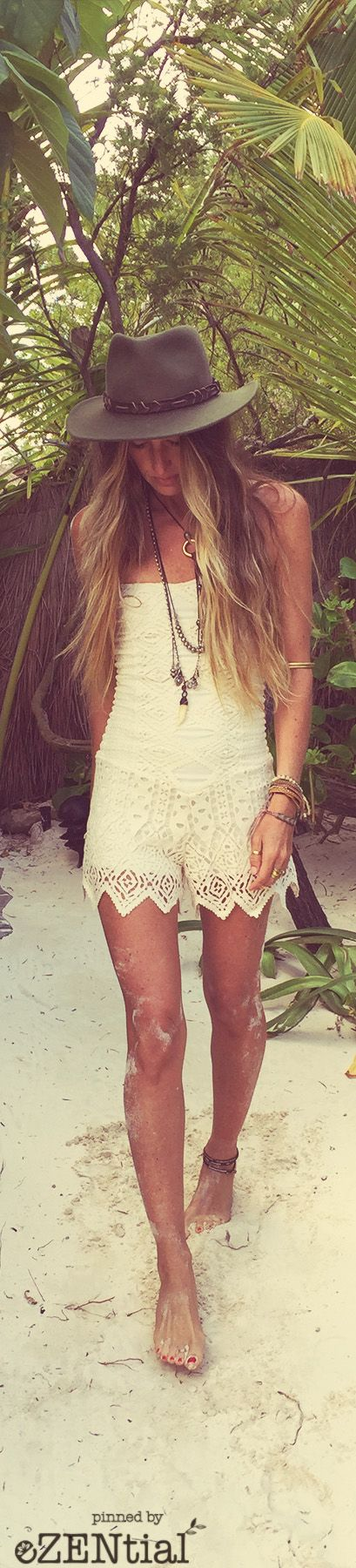 Sexy beachy boho chic onesie jumper with gypsy embellished lace fringe for a modern hippie edge. For the BEST Bohemian fashion trends for 2015 FOLLOW> https://www.pinterest.com/happygolicky/the-best-boho-chic-fashion-bohemian-jewelry-gypsy-/ <now.
