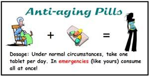 Anti aging pills Under normal circumstances, take one tablet per day.  In emergencies (like yours) consume all at once...