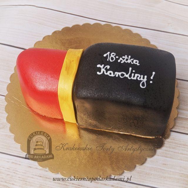 47BA. Tort w kształcie czerwonej szminki. Couture lipstick cake – great feminine  design.