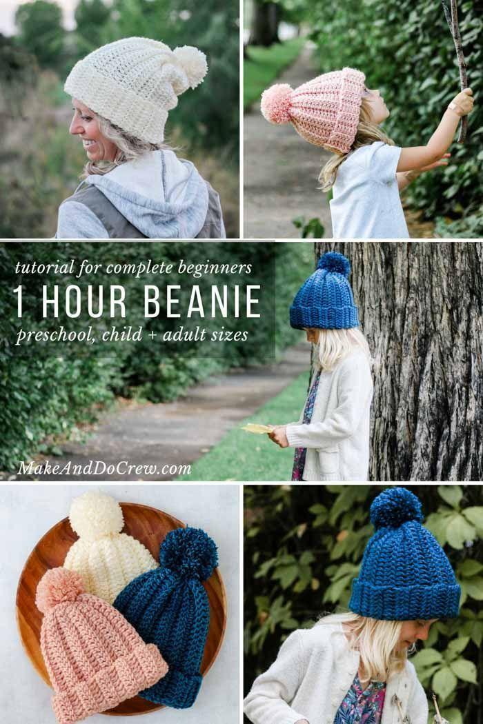 1 Hour Easy Crochet Hat Pattern + Video For Beginners | Crochet ...