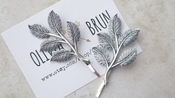 Silver Leaf Branch Bobby Pins Leaf Branch Hair Clips Grecian Hair Bridal Hair…