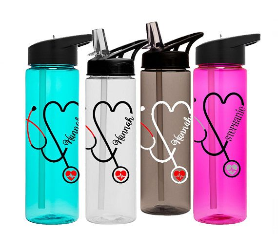 Stethoscope water bottle. Personalized nurse water bottle with your name. You will love this for Nurse or Doctor 24oz plastic Sports Bottle that can handle the tough demands of your job. Perfect for anyone in the medical field. Great Doctors Gift or Nurses Gift. The design features a
