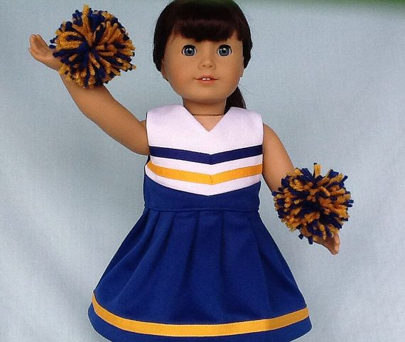 Royal Blue and Gold Cheerleader/Cheer Dress by IfDollsCouldDream