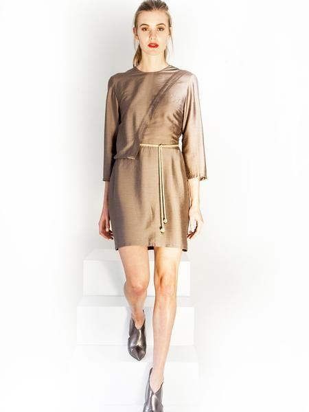 Grey- Beige mini coctail dress / front detail