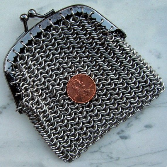 Stainless Steel Chainmaille Purse with Clasp by mygoodbabushka