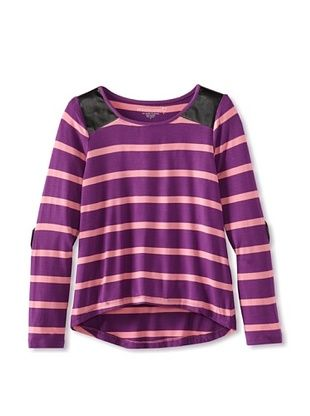 76% OFF Design History Girl's Long Sleeved Tee (Purple Rain Stripe)