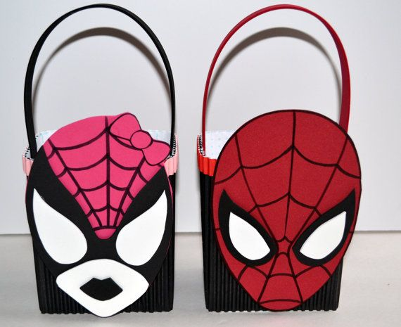 spiderman and spidergirl party favors bags/boxes on Etsy, $2.00