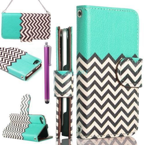 For iPod Touch 5th Flip Leather Wallet High Impact Armor Cases Hybrid Covers New(China