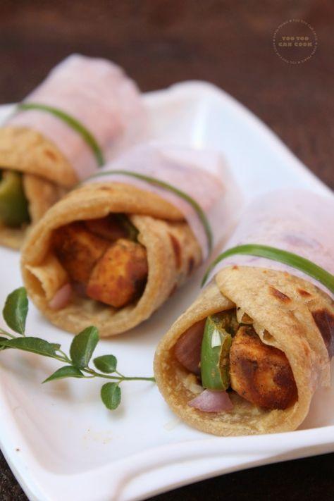 Paneer Tikka Kathi Roll   Kathi Rolls   Paneer Tikka Wrap - Indian styled wraps with chunky and flavorful paneer filling