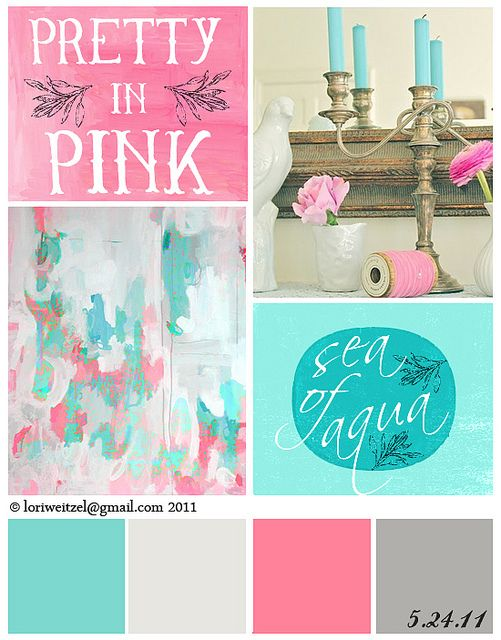 pretty in pink and sea of aqua finally found the 2 coordinating colors for Chloe's aqua pink bedroom! This is great!