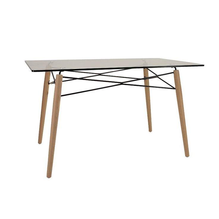 GLASS/WOODEN TABLE 130Χ80Χ74 - Dinner Tables - FURNITURE
