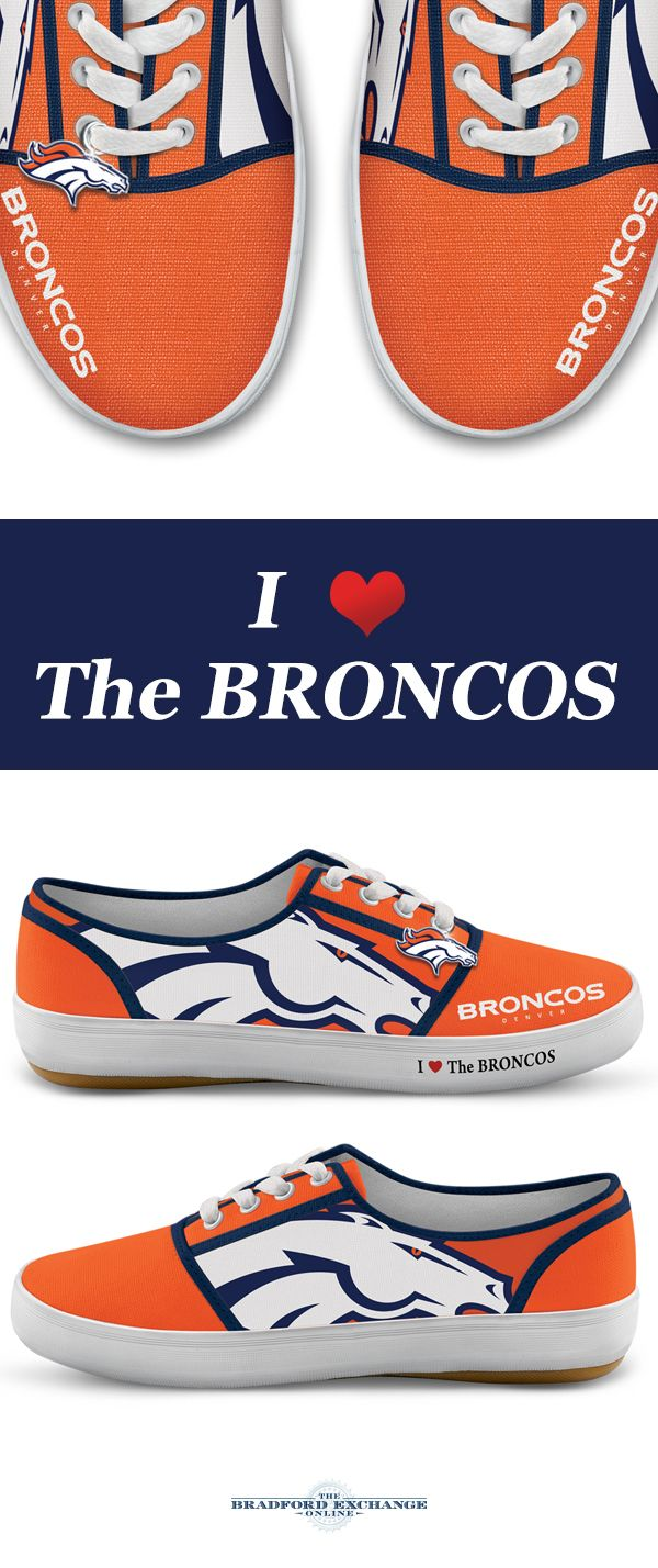 Step up your Broncos pride with winning sneakers! Custom-designed with team logos, colors and a metallic logo charm, these NFL-licensed women's shoes are a must for Denver Broncos fans.