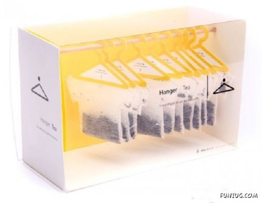 The fun use of coat hangers along with the shaping of the tea packet makes the product an interesting form of packing. Aimed at an audience probably late teens to early 20s due to the playful element. Engaging use of minimalistic graphic alone with minimalistic colouring