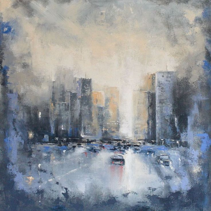 """'City Abstract'"" by Dan Wellington. Oil painting on Canvas, Subject: Landscapes, sea and sky, Impressionistic style, One of a kind artwork, Signed on the back, This artwork is sold framed, Size: 56 x 56 x 2 cm (framed), 22.05 x 22.05 x 0.79 in (framed), Materials: oil on canvas"
