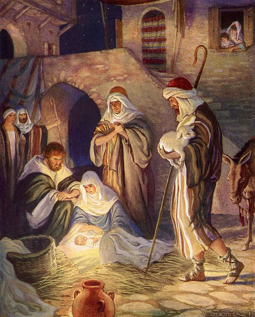 (1888-1956)  Milo Winter - Nativity Scene: