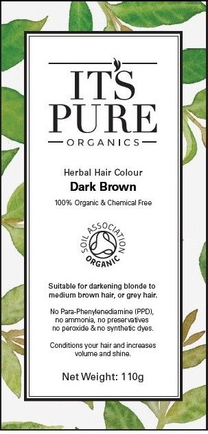 Soil Association Certified Organic Hair Dye - good for your hair and the most effective natural dye we've found so far for grey coverage. It's Pure Organics Herbal Hair Colour Dark Brown, only at Suvarna