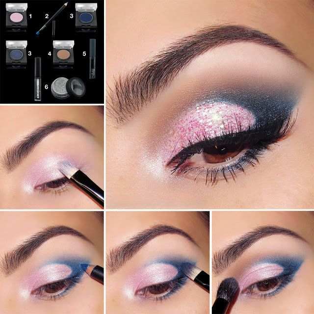 Glittery eye makeup step by step