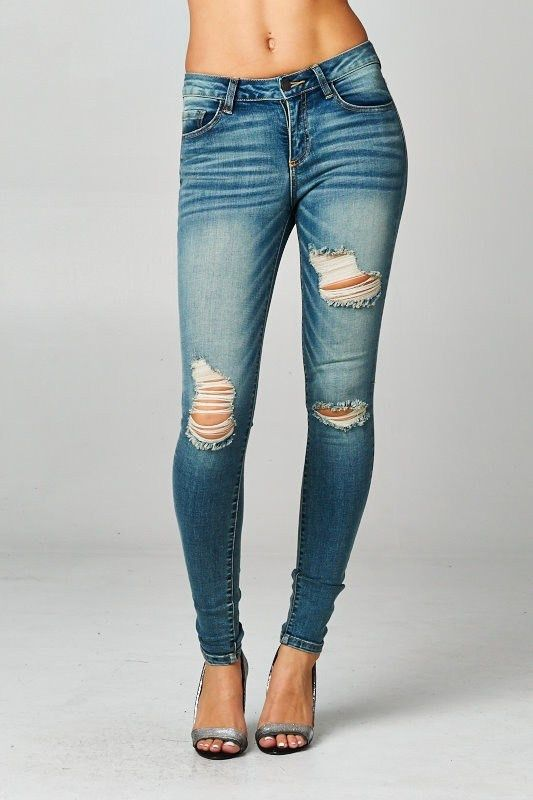 Love the fit of these jeans! Hits at the ankle. I would want less holes.