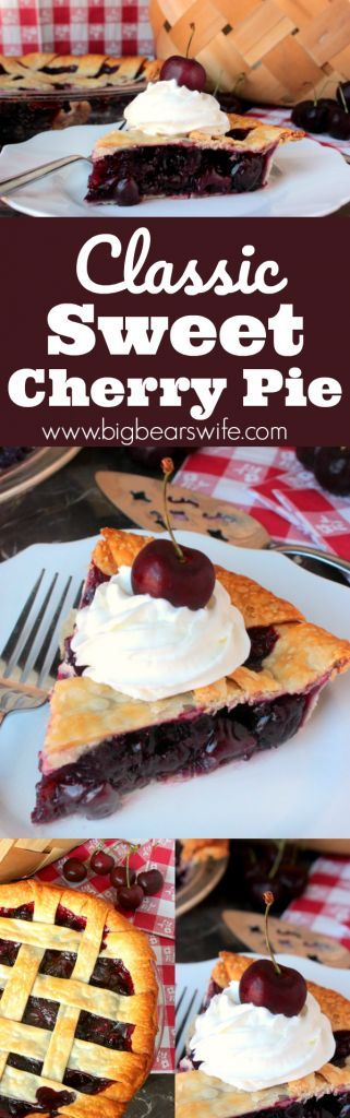 Classic Sweet Cherry Pie - Homemade Cherry Pie Filling inside of perfectly baked lattice pie crust makes for the perfect summer dessert! Top it with a bit of whipped cream and a few fresh cherries for that classic cherry pie look!