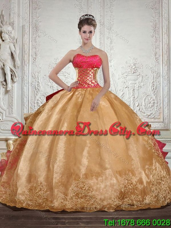 Unique Strapless Multi Color Quinceanera Dress with Beading and Embroidery - http://m.quinceaneradresscity.com