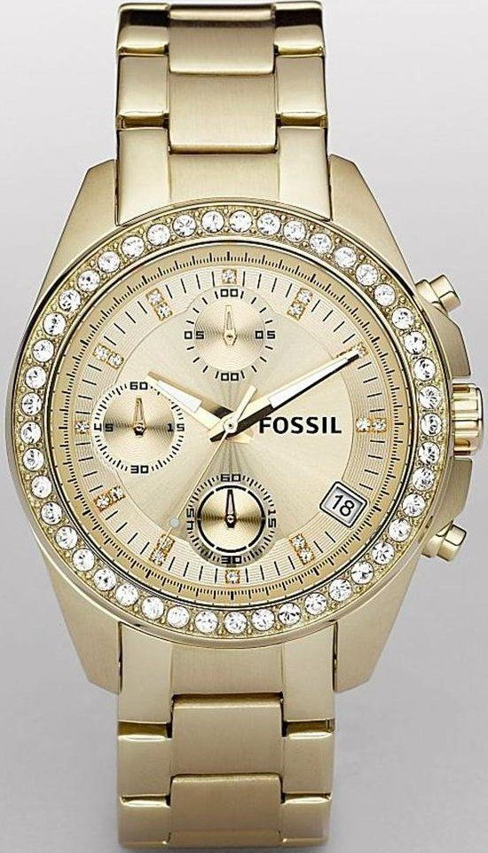 #Fossil Women's ES2683 Gold-Tone Stainless Steel Bracelet Gold Glitz Analog Dial Chronograph #Watch