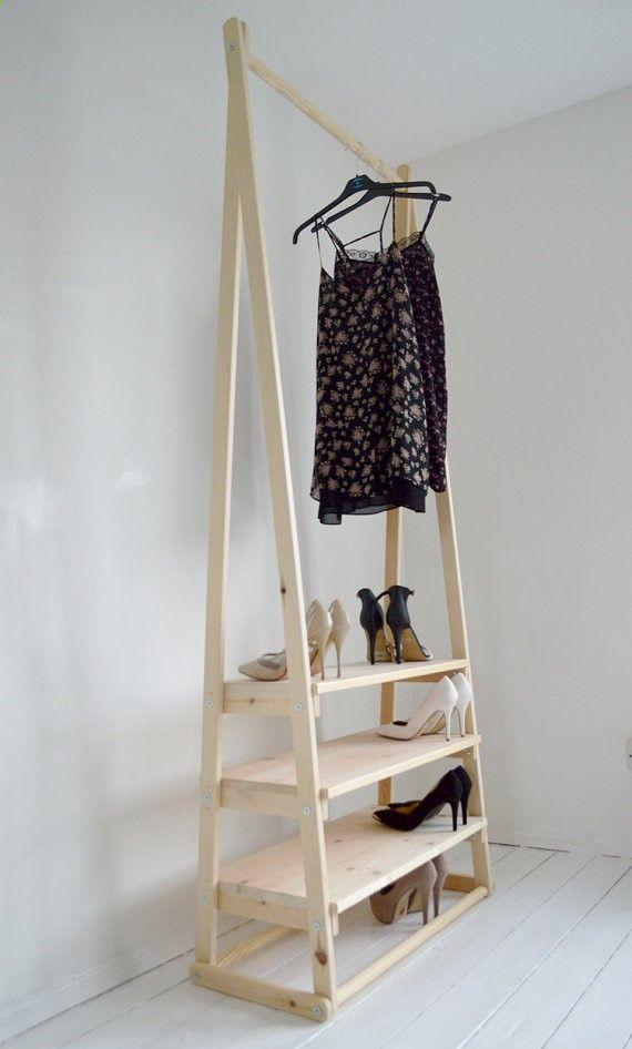 Cool Handgemachte nat rliche Holz Kleiderst nder Kleiderstange mit Regalen