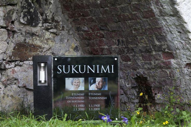 Lasinen hautakivi (malli Kajo-S) Glassy memorial stone /  Grave stone glass (model Kajo-S)