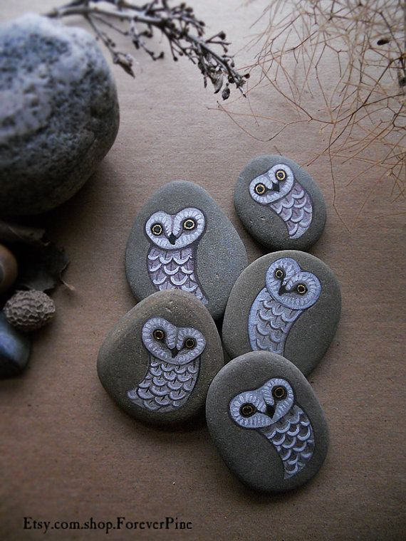 Tiny ghost pocket owls - 5 unique painted stones - Seneca Lake Stone via Etsy