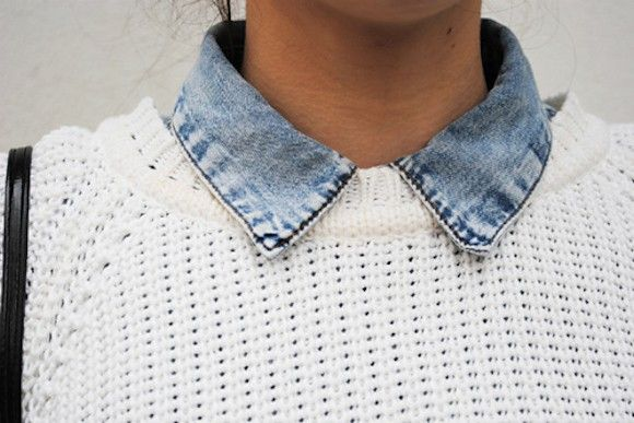 Pull blanc + chemise en jean