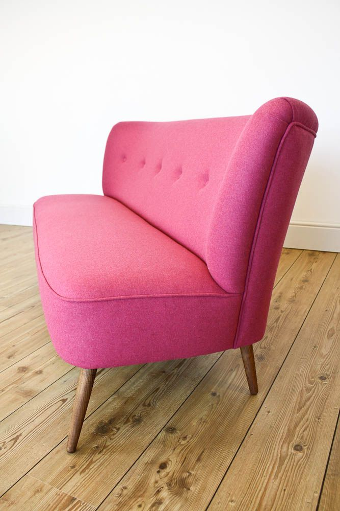 Our Lola 1950s Vintage Inspired Cocktail Sofa Shown Here In Fuchsia Wool.  Available On Our