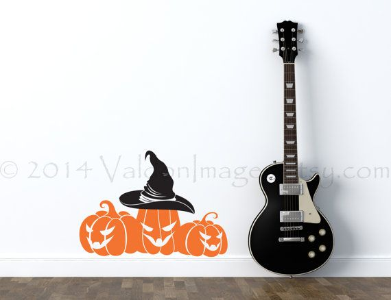 Pumpkin patch and a witches hat vinyl wall decal by ValdonImages #Halloween #homedecor #decoration
