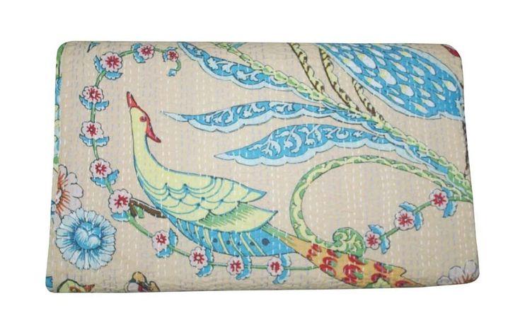 Handmade Quilt Bedsheet Kantha Bird Print Cotton Bedspreads Coverlet Bedding #Handmade #ArtDecoStyle