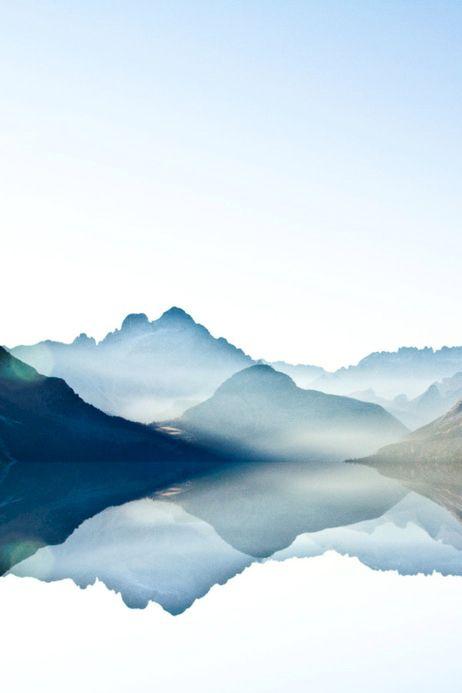 Surreal photo. Art. Watercolor. Mountains. Reflection. Dreamy. Escape.