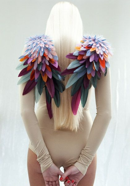 Make some colorful epaulettes. Foam feathers in different sizes can be glued or sewn to make wings.