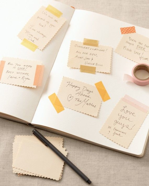 Loved ones will have fun posting a message in an interactive scrapbook album. Just set out a pair of scissors, a few rolls of tape, and a stack of blank cards trimmed with pinking shears. Then affix a note on the first page to beckon guests to follow suit.