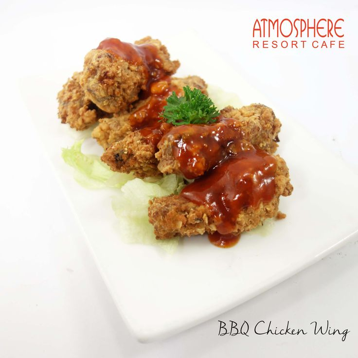 Marinated fried chicken wing w/ brown bbq sc
