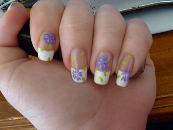 Purple Nail Beds #prom nail art