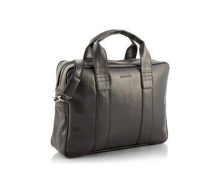 Ciemnobrązowa torba na laptopa z paskiem na ramię