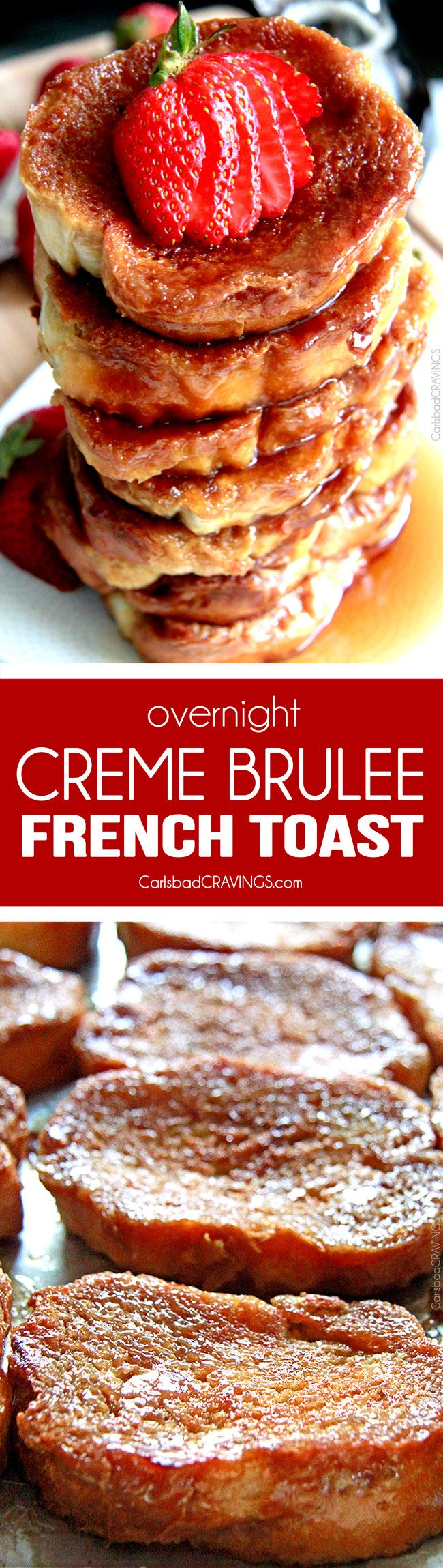 Creme Brulee French Toast tastes like glorious Creme Brulee and can be thrown together in 15 minutes and made the night before! Golden caramelized toasted outside, subtly creamy inside. Seriously melt in your mouth delicious - read the reviews! #Christmas