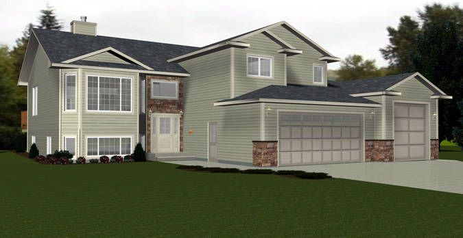 Bi Level House Plan With A Bonus Room 2010539 By E Designs