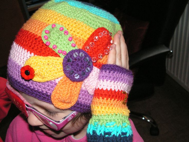 crochet colour hat and mittens