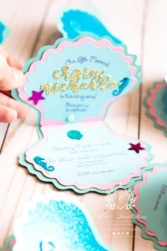 mermaid invitations shell little mermaid handmade invitation mermaid