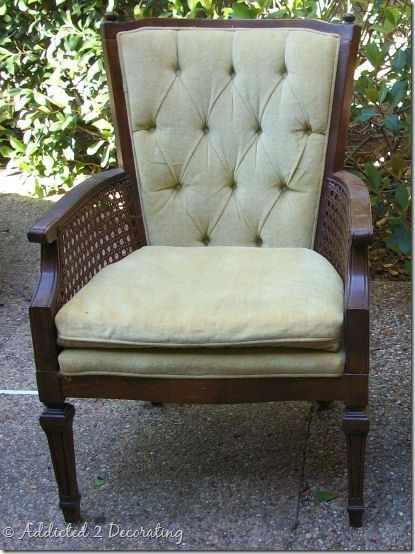 Reupholstered Cane Chair With Tufted Back Blue Fabric