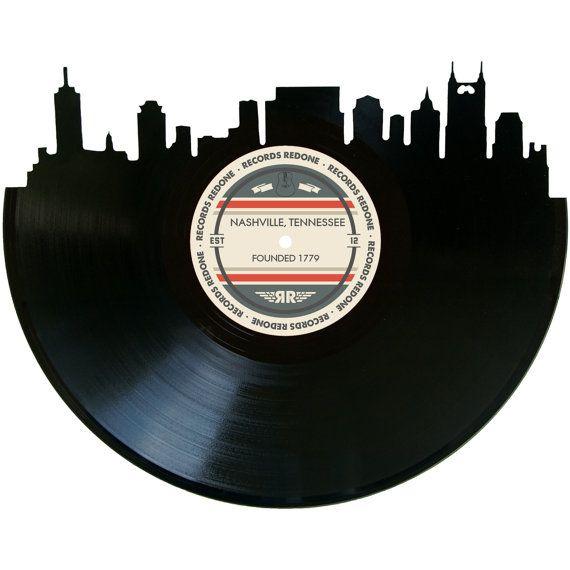 Piece measures 10 x 12  For more Nashville Skyline options:  recordsredone.com/collections/skylines/products/nashville-skyline-vinyl-record-art