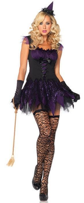 FANCY DRESS ENCHANTING WITCH COSTUME - BLACK AND PURPLE SPIDERWEB DRESS WITH HAT - LADIES HALLOWEEN COSTUMES / SPOOKY OUTFIT