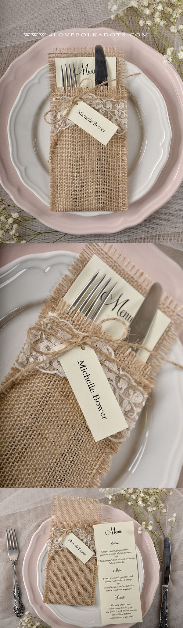 Rustic Country Wedding Menu Card with Burlap Holder #countreyweddingideas #lace…