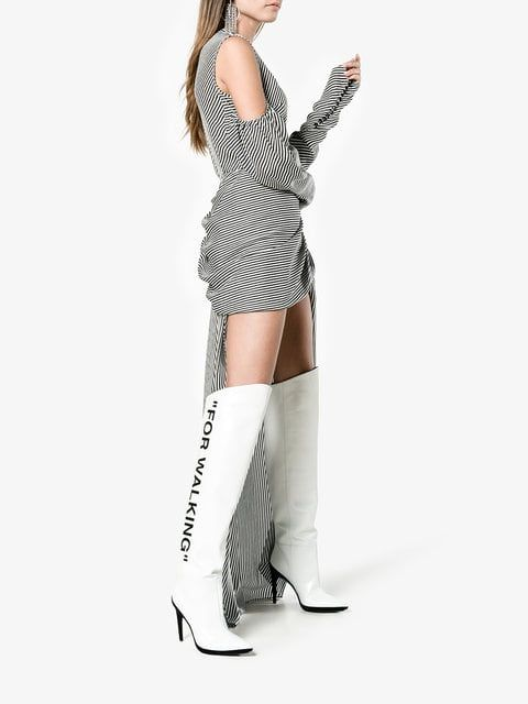 5df359e11fa Off-White White For Walking 120 Knee Boots - Farfetch